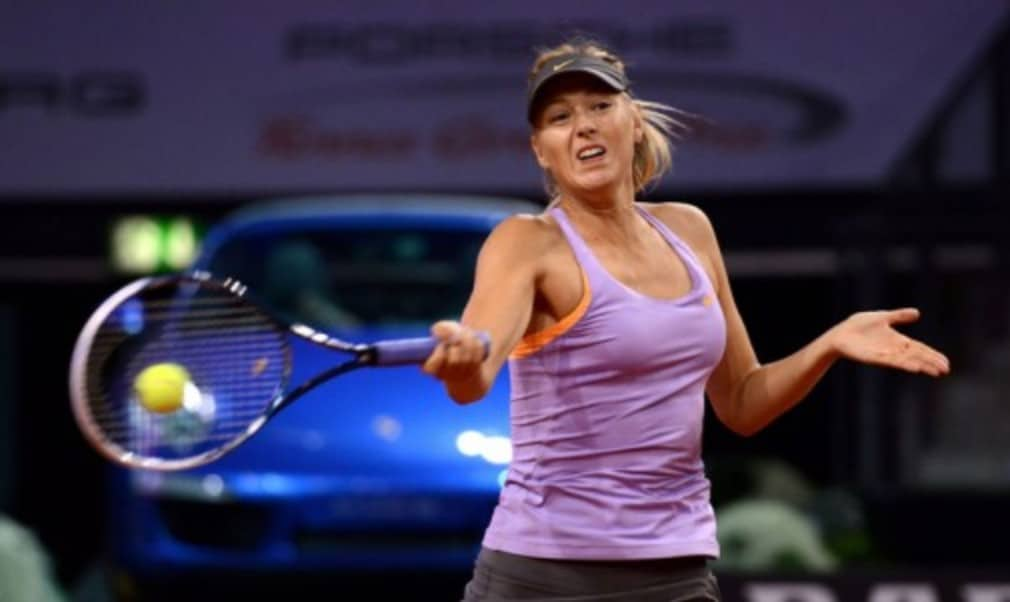 Maria Sharapova produced a stirring comeback to defeat Ana Ivanovic to claim a hat-trick of titles at the Porsche Tennis Grand Prix in Stuttgart