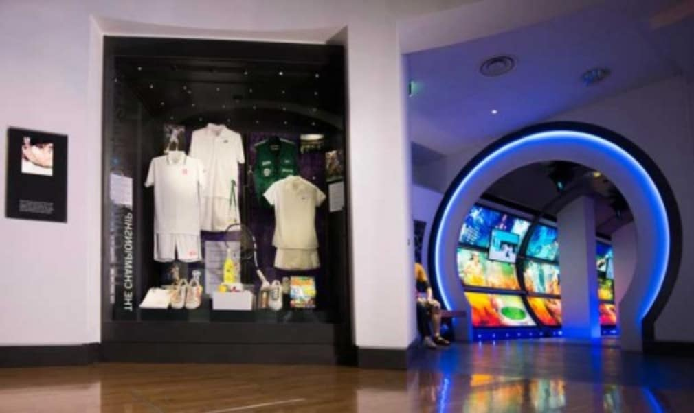 The outfits worn by Wimbledon champions Novak Djokovic and Petra Kvitova are on display in a new showcase at the All England Club