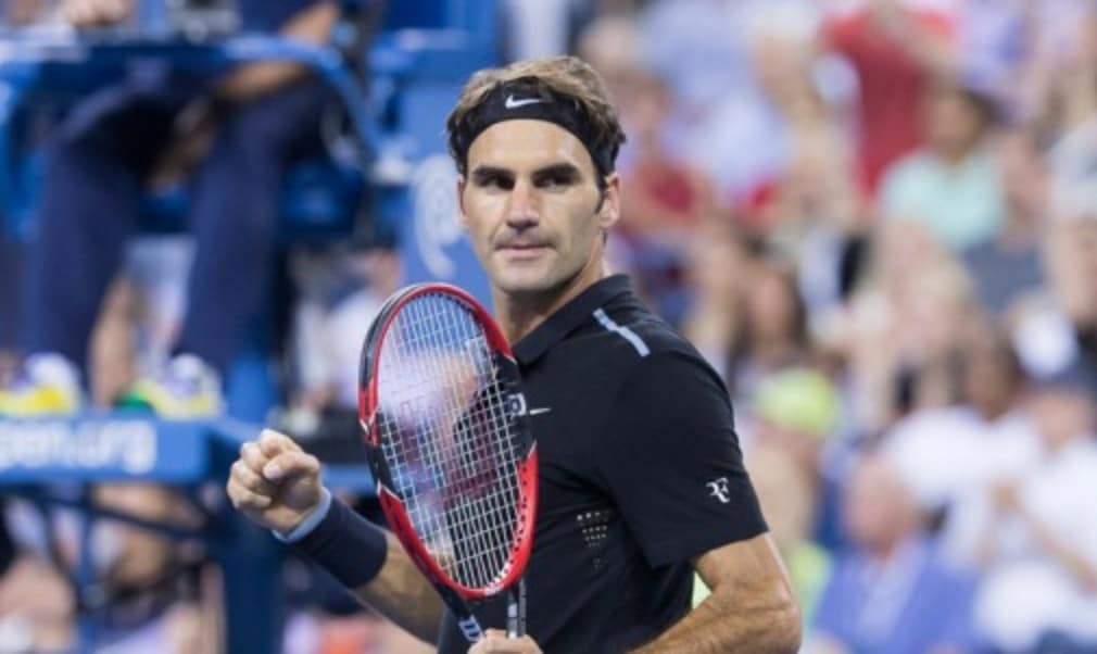 Roger Federer produced a few moments of magic for a US Open crowd that included his sporting hero and basketball legend Michael Jordan en route to a routine first-round win over Marinko Matosevic.