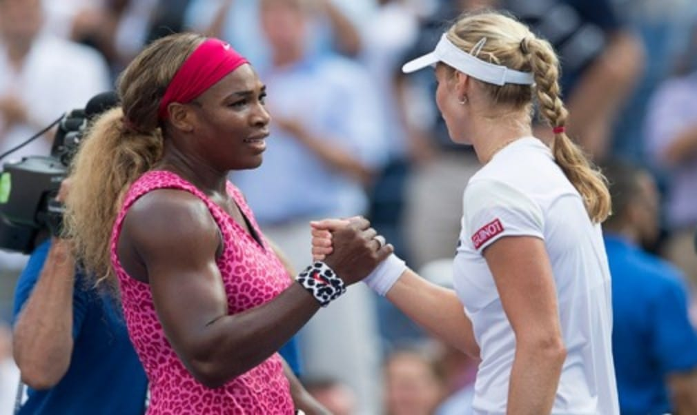 Serena Williams blitzed Russia's Ekaterina Makarova to reach the US Open final for a third successive year