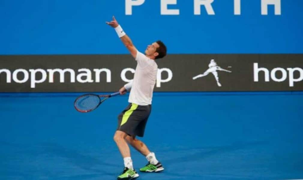 Andy Murray plays his first match in Perth as temperature soars