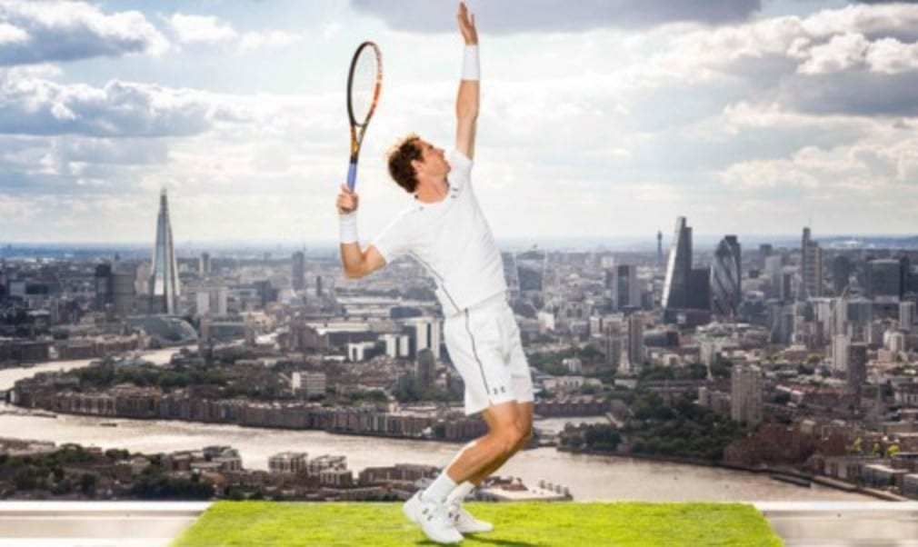 Andy Murray took to the top of one of London's tallest buildings to unveil his Under Armour kit for the 2015 Championships
