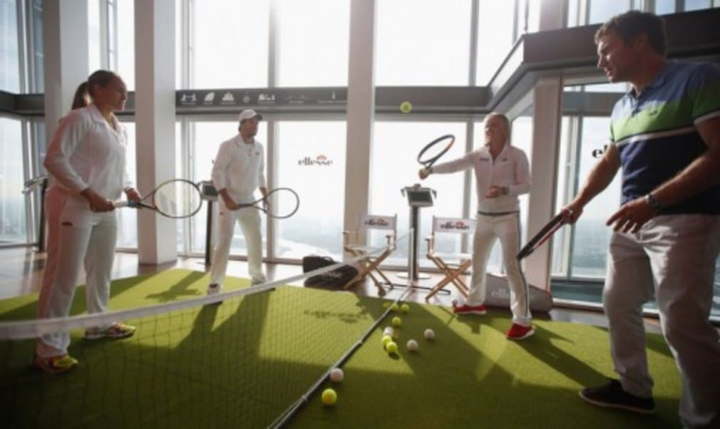 Former Wimbledon champion Pat Cash took part in a unique game of mixed doubles as ellesse hosted EuropeŠ—Ès highest tennis rally at the top of The Shard