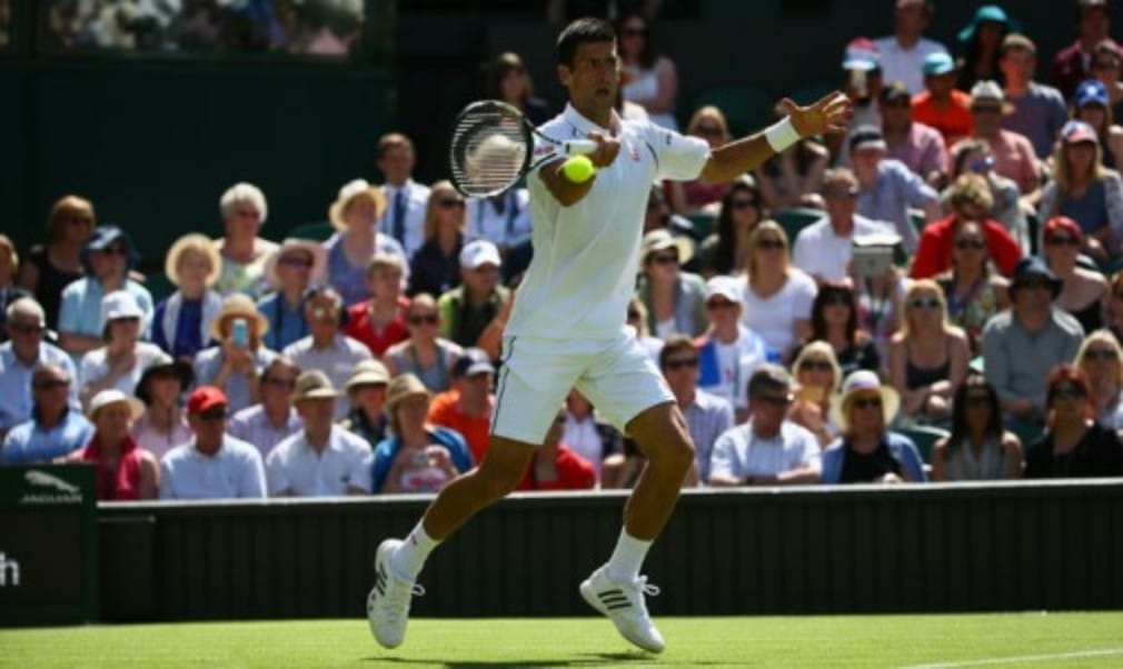 World No.1 Novak Djokovic opened the defence of his Wimbledon title with a straight sets victory
