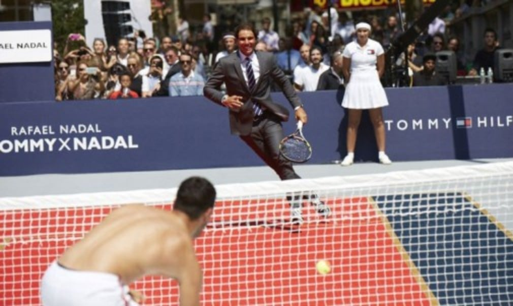 Rafael Nadal was unveiled as the new face (and body) of Tommy Hilfiger at a pop-up tennis event in New York ahead of next weekŠ—Ès US Open