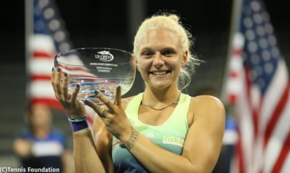 Jordanne Whiley became the first British woman to win a wheelchair tennis Grand Slam singles title at the US Open