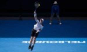 Andy Murray out-aced the big-serving Sam Groth as the world No.2 eased to a 6-0 6-4 6-1 victory to reach the third round of the Australian Open for an eighth straight year