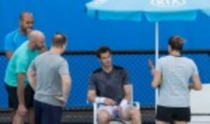 Andy Murray trains ahead of his fourth round match against Bernard Tomic on Monday