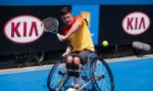 Gordon Reid in action during his victory over eight-time champion Shingo Kunieda in the Australian Open quarter-finals