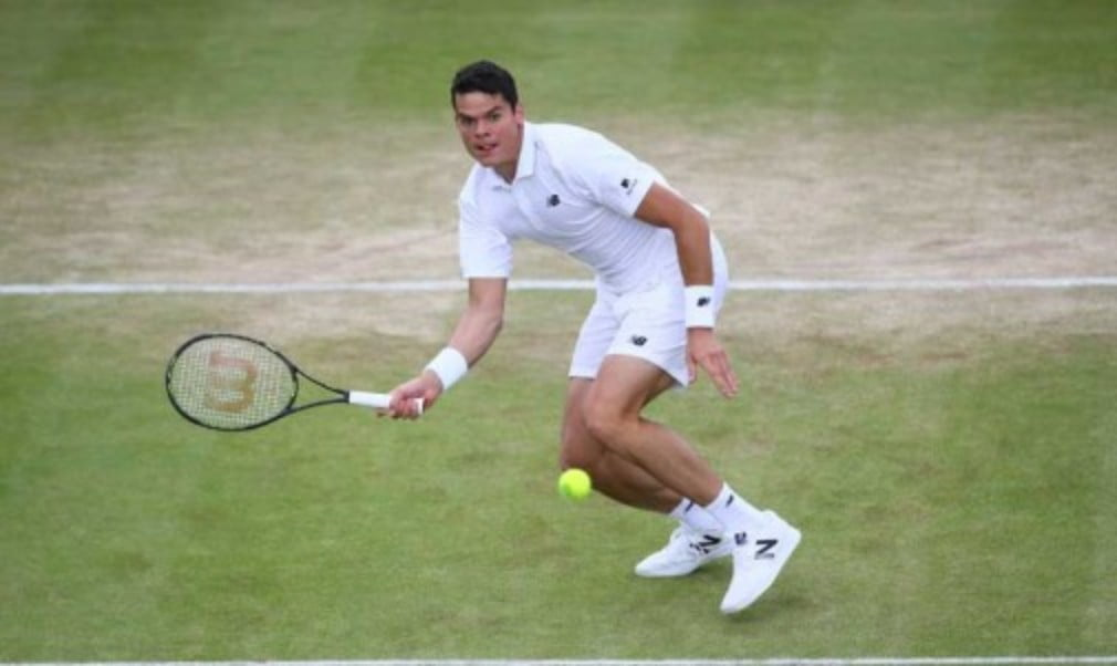 Milos Raonic played his first five set match at Wimbledon on Monday when he came back from two sets down to beat Belgian David Goffin 4-6 3-6 6-4 6-4 6-4. He will face Novak DjokovicŠ—Ès conqueror