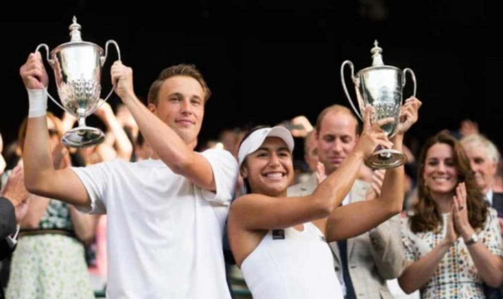 Heather Watson followed in the footsteps of Jamie Murray as she became Wimbledon mixed doubles champion on Sunday