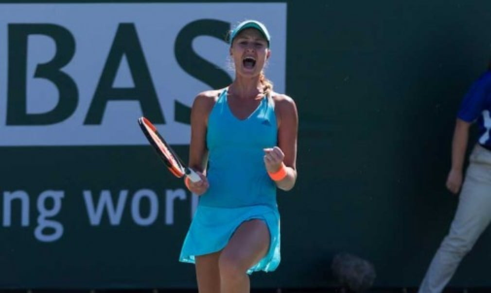 Kristina Mladenovic continued her sensational form as she upset former champion Simona Halep in Indian Wells