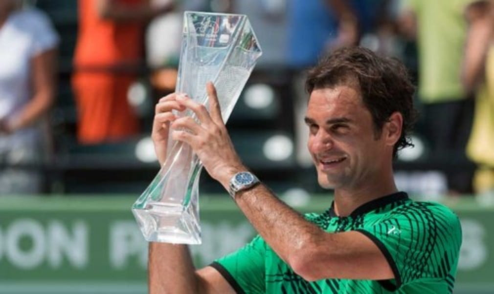 Roger FedererŠ—Ès astonishing start to 2017 continued as the Swiss won his third title of the season at the Miami Open