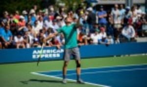David Goffin plays Andrey Rublev on Louis Armstrong Court on Monday