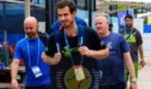 As Andy Murray returned to court for a practice session in Brisbane