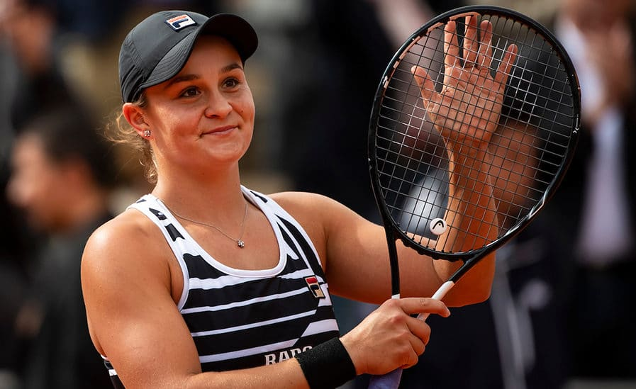 Ashleigh Barty celebrates at French Open