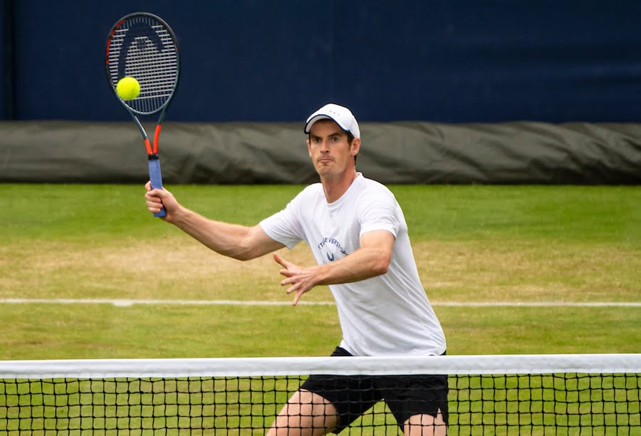 Andy Murray hits forehand volley on grass