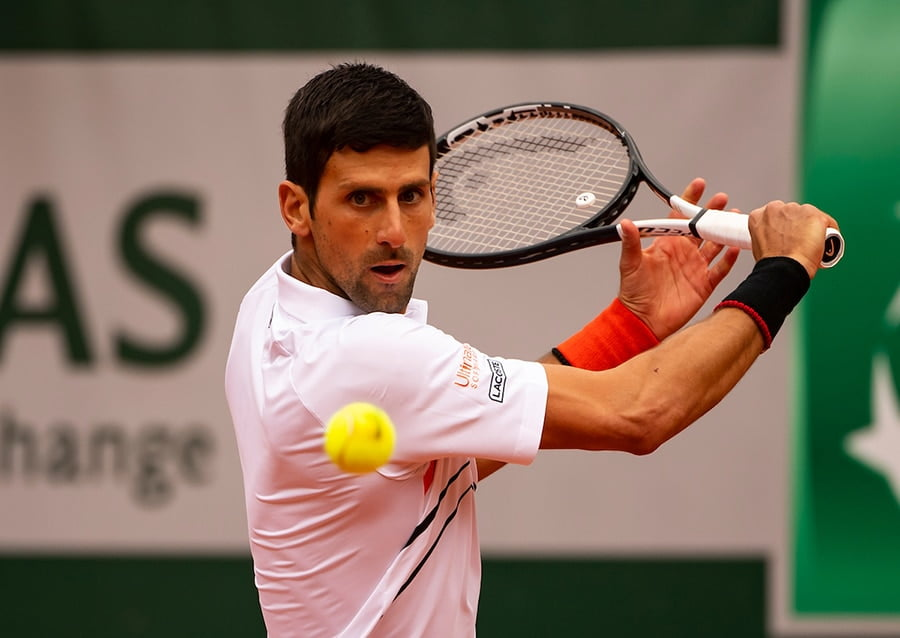 Novak Djokovic in action at the French Open