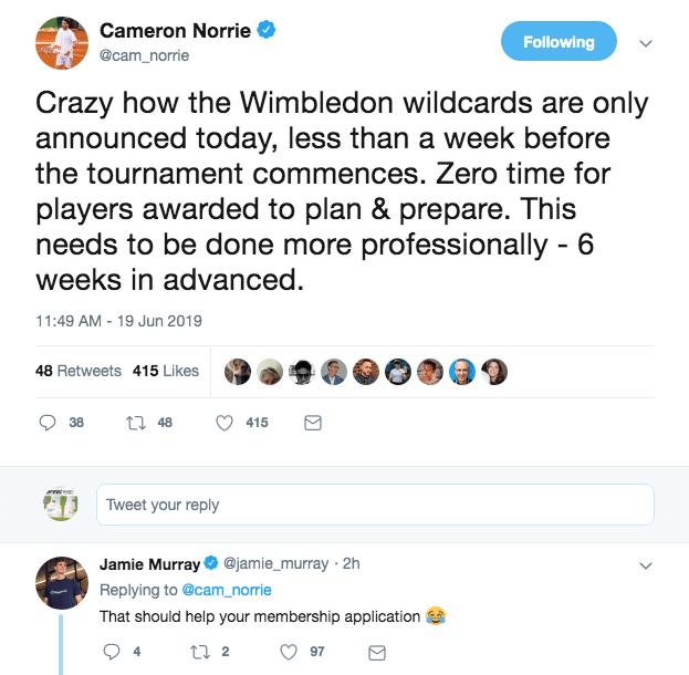 Jamie Murray reply to Cameron Norrie Wimbledon tweet