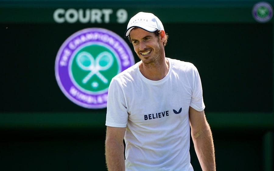 Andy Murray practicing at Wimbledon