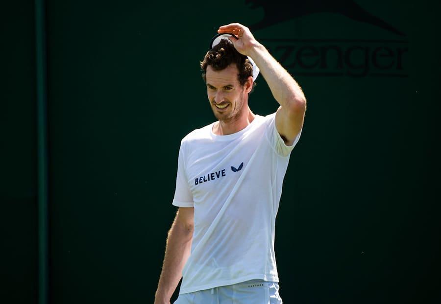 Andy Murray smiling at Wimbledon practice