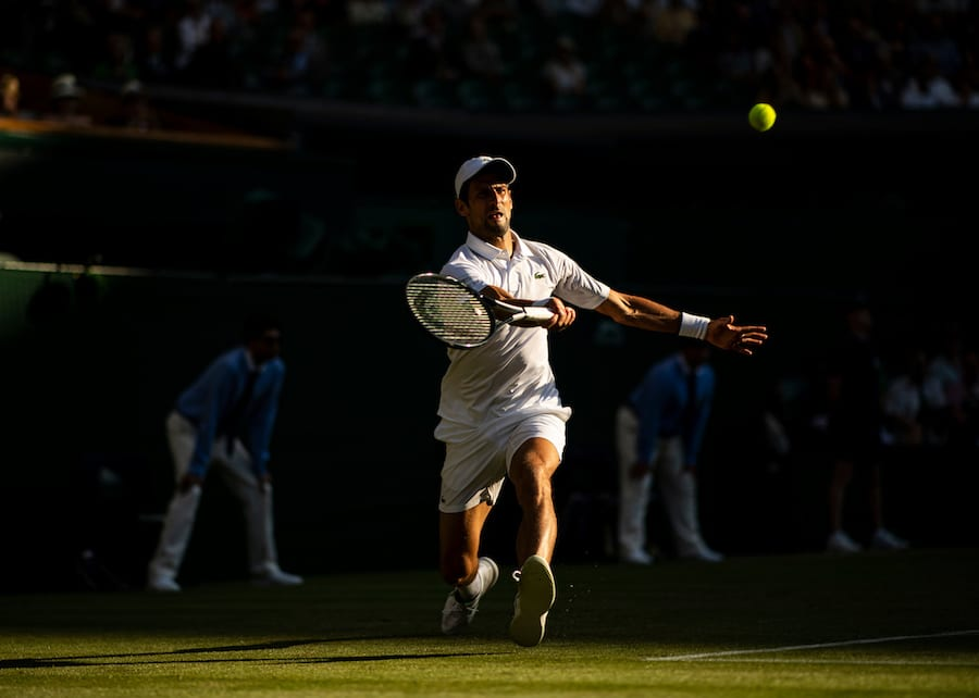 Novak Djokovic Wimbledon 2019 evening shadows