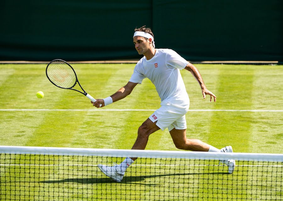 Roger Federer practises at Wimbledon 2019