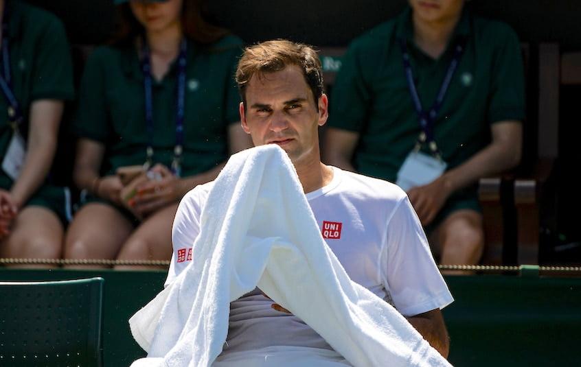 Roger Federer relaxes at Wimbledon 2019