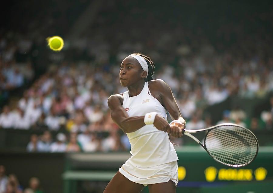 Cori Gauff hits a backhand at Wimbledon 2019