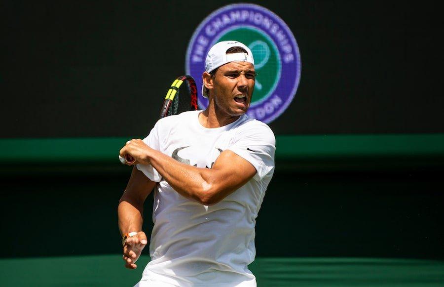 Rafa Nadal practises at Wimbledon 2019