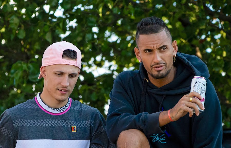 Nick Kyrgios drinks alcohol with friend