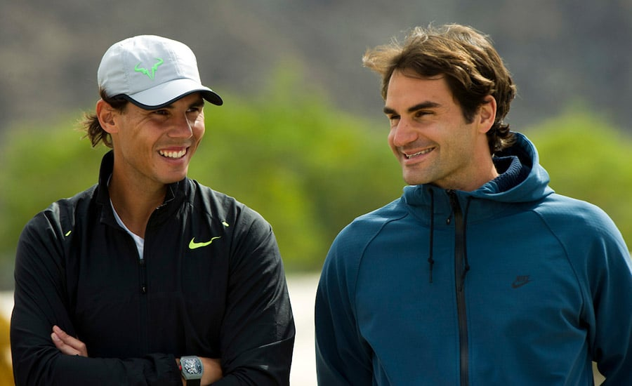 Roger Federer and Rafael Nadal talking