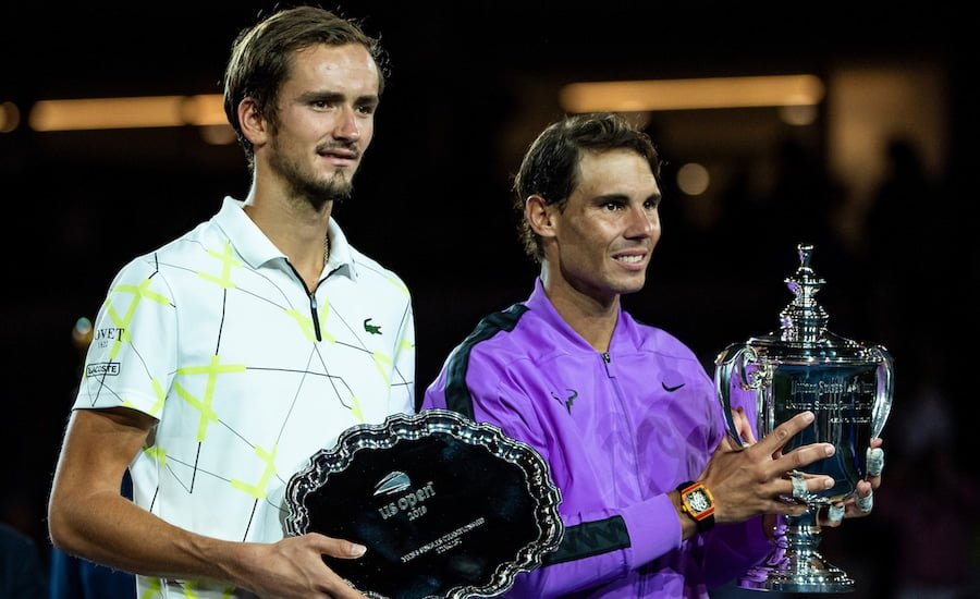 Danill Medvedev US Open final with trophy and Nadal