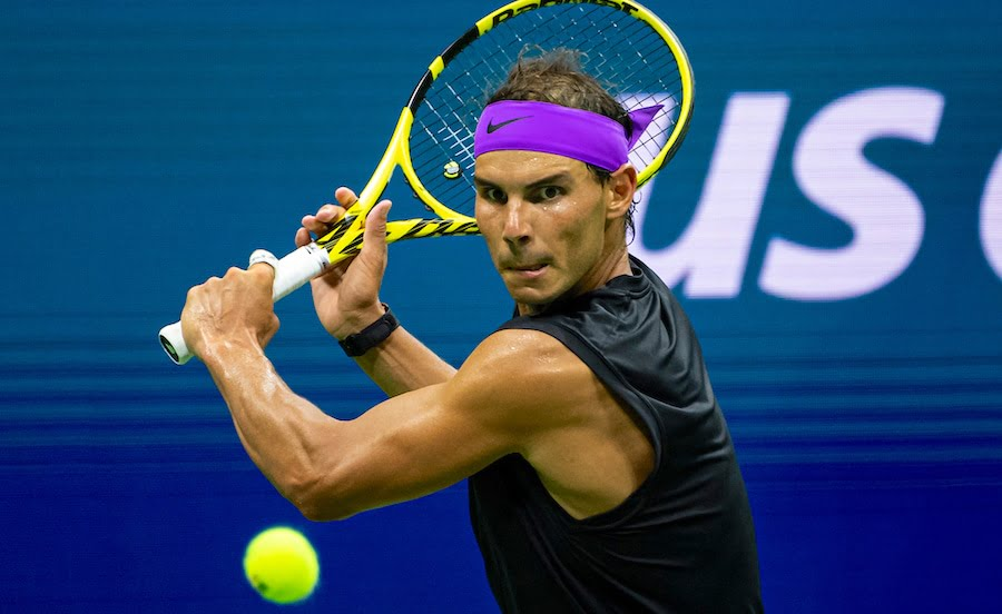 Rafa Nadal hits backhand at US Open 2019