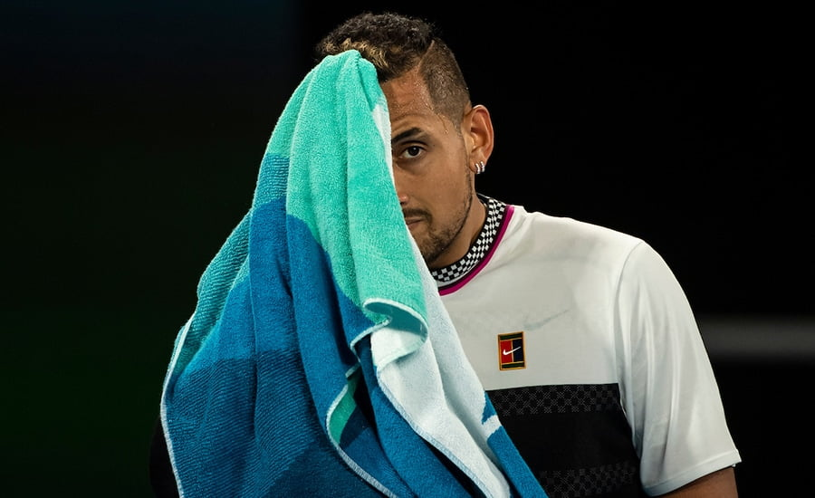 Nick Kyrgios looking distressed