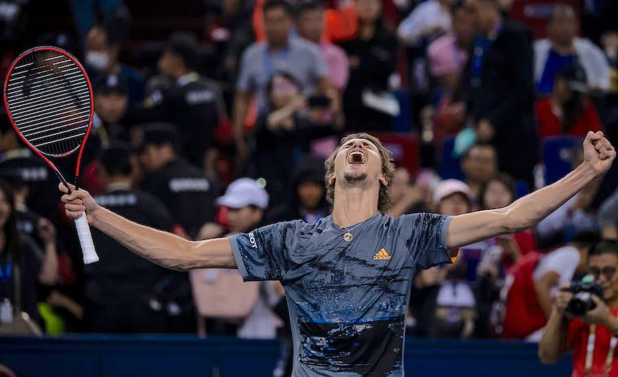 Alexander Zverev celebrates at Shanghai 2019