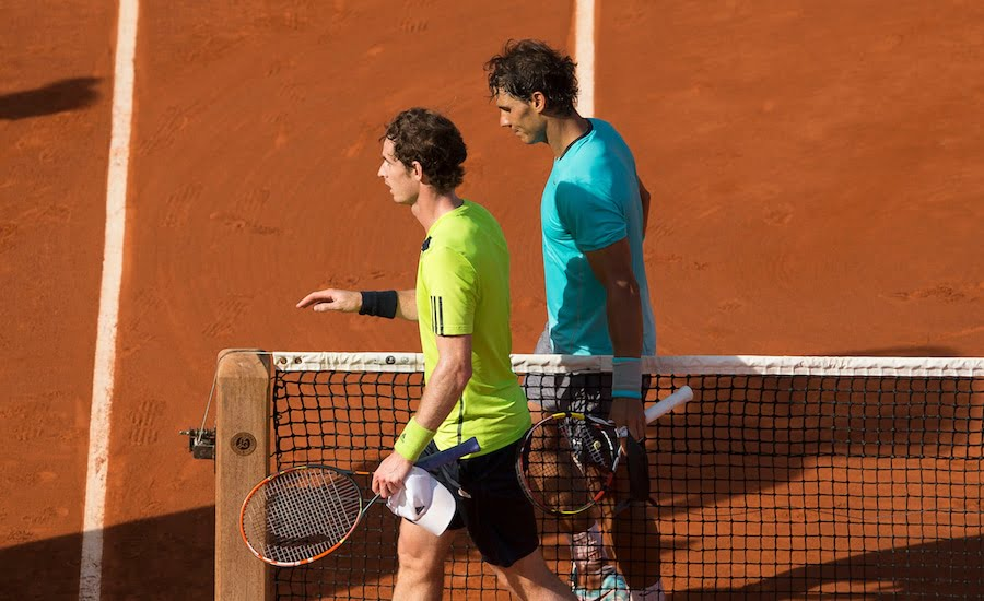 Andy Murray and Rafa Nadal after their match at the French Open 2014.JPG