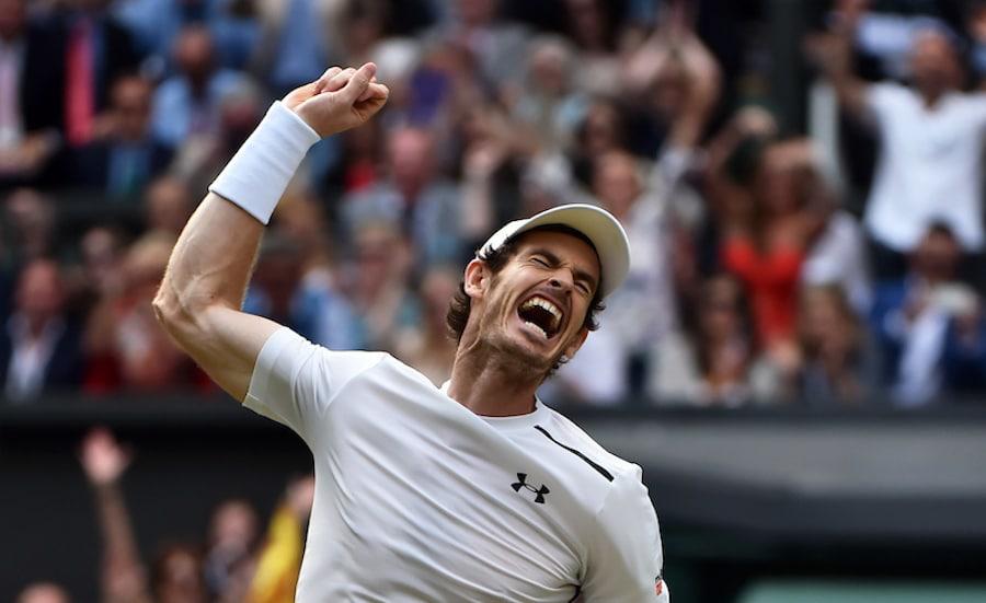 Andy Murray celebrates winning Wimbledon 2016