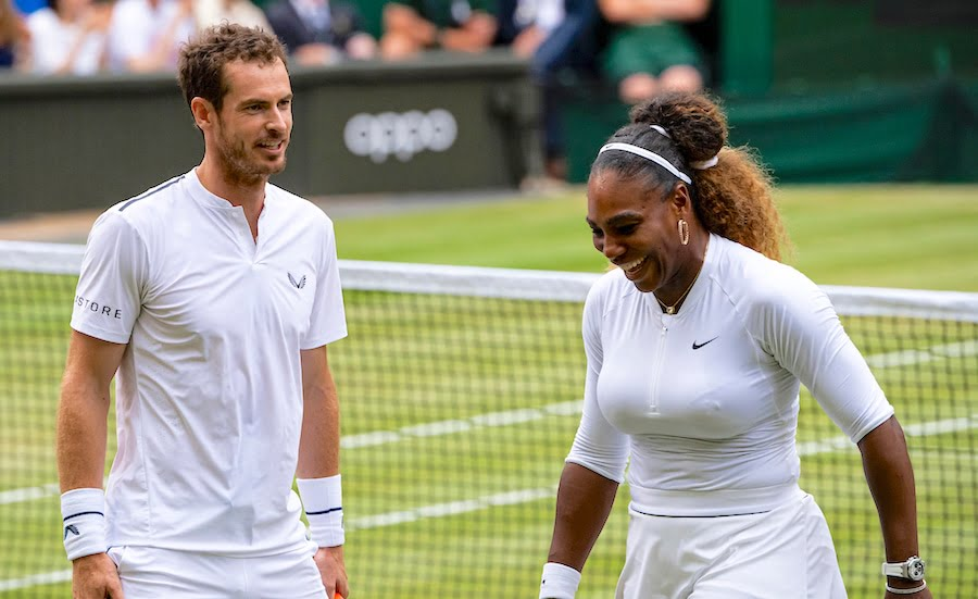 Andy Murray laughs with Serena Williams Wimbledon 2019