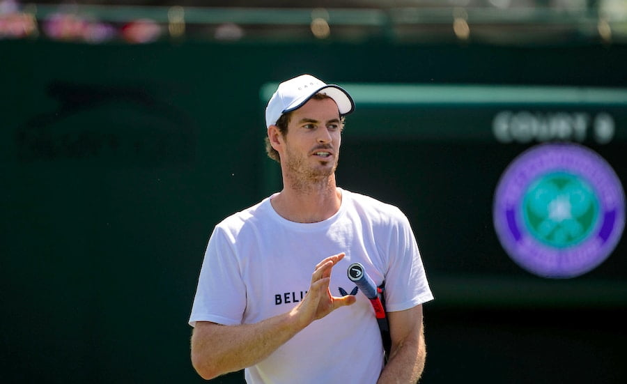 Andy Murray practises and smiles at Wimbledon 2019