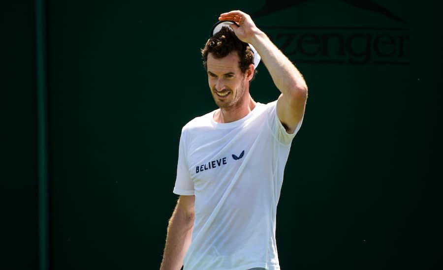 Andy Murray smiles in practise at Wimbledon 2019.jpg