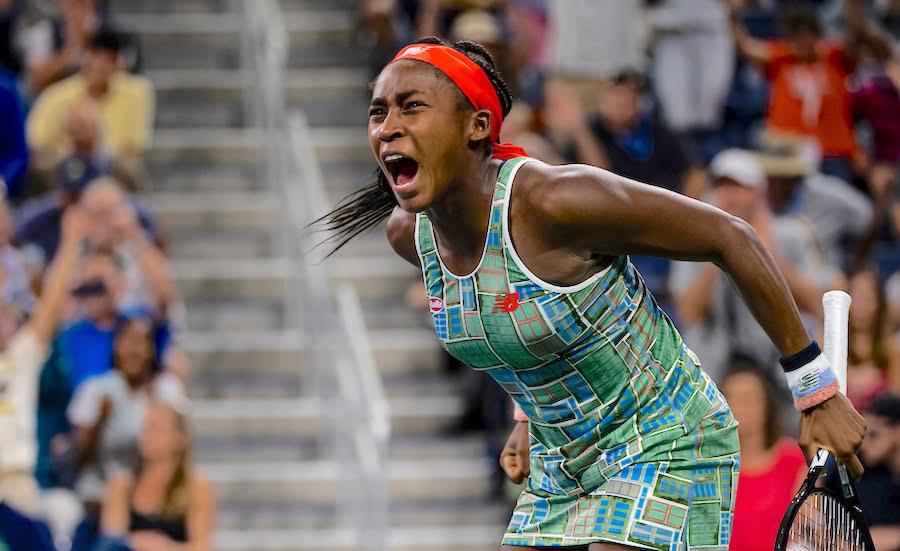 Coco Gauff screams at the US Open 2019