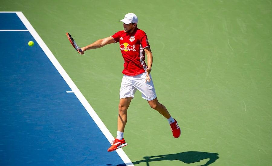 Dominic Thiem practises at US Open backhand.jpg