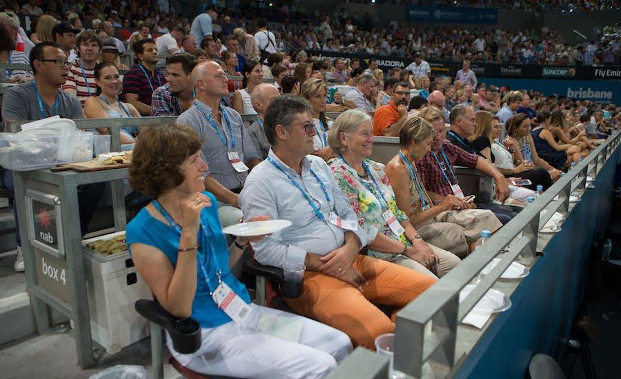 Fans watch tennis