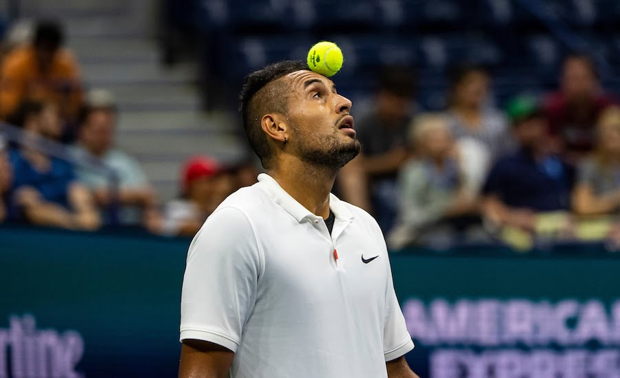 Nick Kyrgios balances ball on head US Open 2019