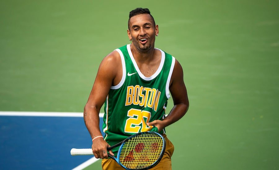 Nick Kyrgios practises and laughs at US Open 2019