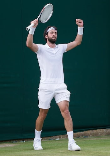 Nikoloz Basilashvili celebrates at Wimbledon