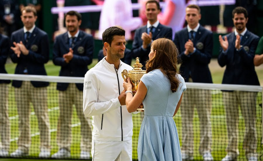 Novak Djokovic receives Wimbledon trophy from Kate Middleton. Tickets for Wimbledon 2020 close today