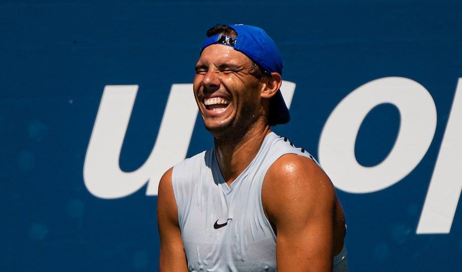 Rafa Nadal laughs during practise at US Open 2019