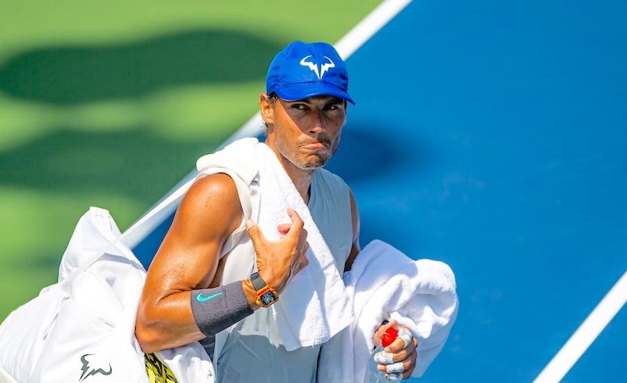 Rafa Nadal looks concerned US Open 2019 practise